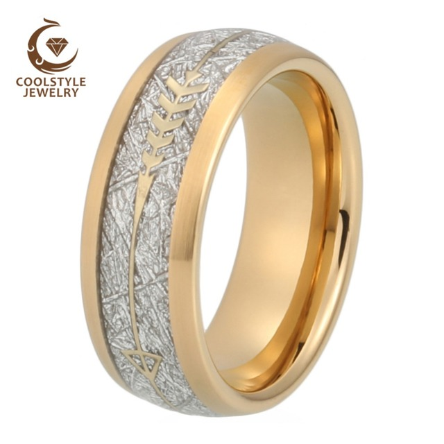 Gold Wedding Band Men Women Tungsten Ring With Arrow And Imitated Silver Meteorite Inlay