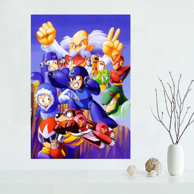 Custom megaman Canvas Painting Poster Cloth Silk Fabric Wall Art Poster for Living Room Home Decor