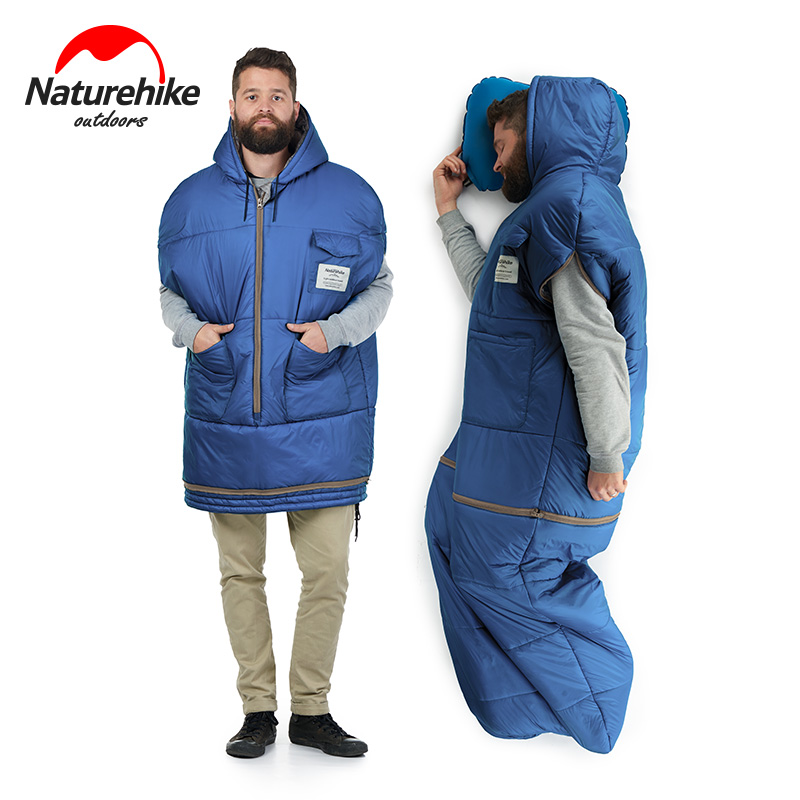 Naturehike Jacket Style Removable Mummy Sleeping Bag With Pocket 380T Nylon Waterproof Filling Down Cotton Camping Sleeping Bags