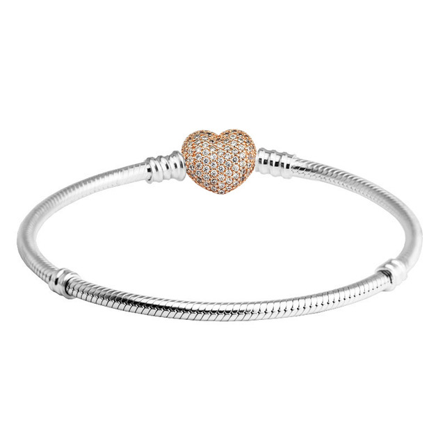100% 925 Sterling Silver Bracelets Bangles Rose Gold Pave Heart Clasp Bracelet for Women DIY Charms Jewelry pulseras Wholesale