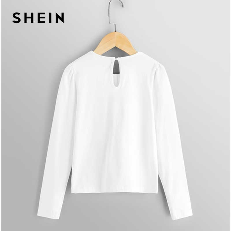 4ea6551b53 ... SHEIN White Binding Bow Kids Shirt Girls Blouses 2019 Spring Korean  Fashion Preppy Long Sleeve Tee ...