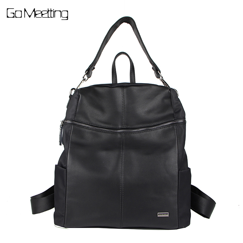 Go Meetting Brand Fashion Women Backpacks PU Leather Oxford Shoulder bags Multi Function Female Bag mochilas