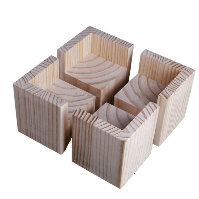 4PCS/Lot Furniture Heighten Solid Wood End Table Cabinet Table Bed Chair Foot Mat  Furniture Support Foot Furniture Parts Pine