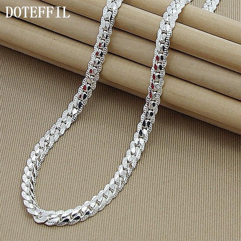 Nové přírůstky Ženy 6MM Full Side Silver náhrdelník 925 - Bižuterie - Fotografie 4
