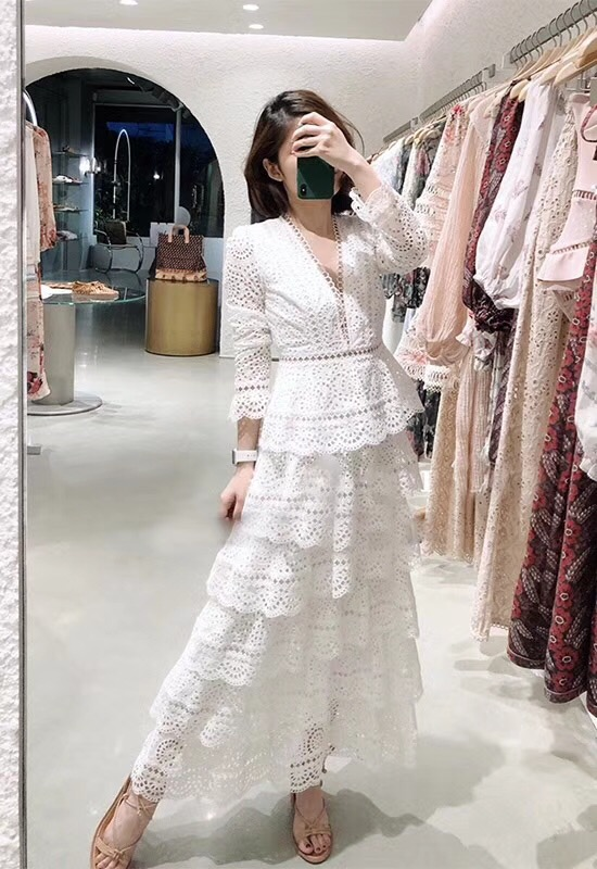 Top Quality Dress New 2018 Autumn Fashion Party Wedding Women Sexy V-Neck Hollow Out Embroidery Cascading Ruffle Long Dress Maxi 2