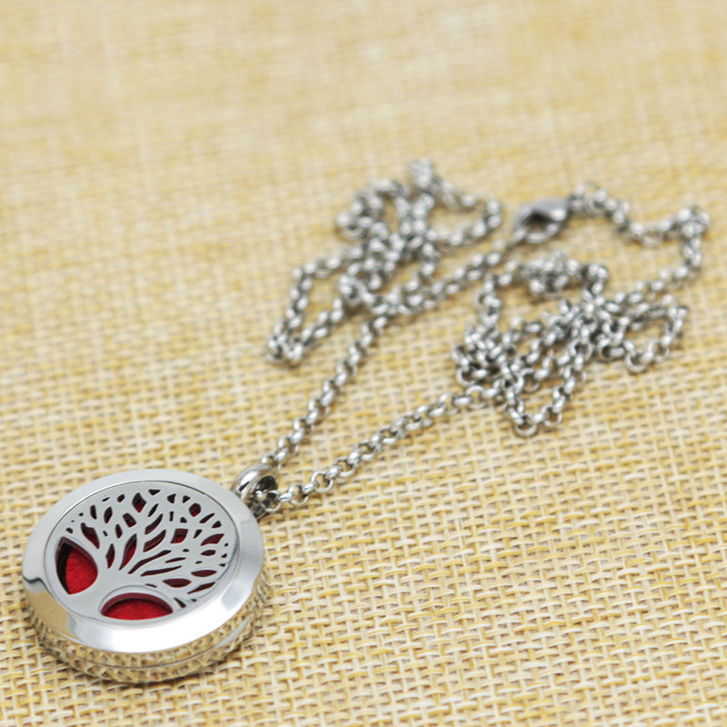 Trees of Life Aromatherapy Essential Oils Stainless Necklace pendant Perfume Diffuser Locket With chain and 10pcs Felt pads