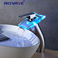 ROVATE LED Light Basin Faucet Waterfall Lighting Bathroom Tap Glass Sink Faucet Temerature Sensor Tap Hot
