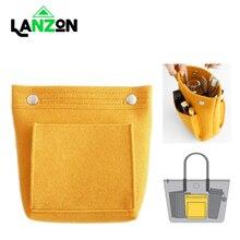 Lanzon Fashion Women Portable Felt Fabric Insert Handbag Tote Purse Organizer Girls Female Travel Cosmetic Makeup Bag New