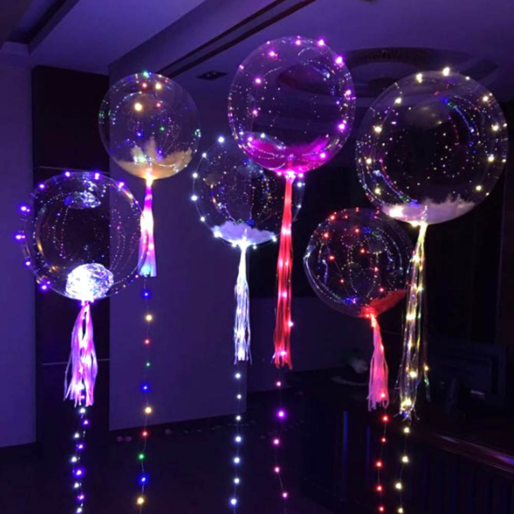 Colorful Transparent Round Bubble Decoration Party Wedding Balloons Glow In The Dark Toys LED Light Without Battery
