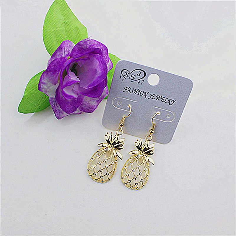 Novo vidro branco jóias acessórios de moda por atacado da festa de aniversário meninas realistas golden pineapple pingente brincos livre shipp