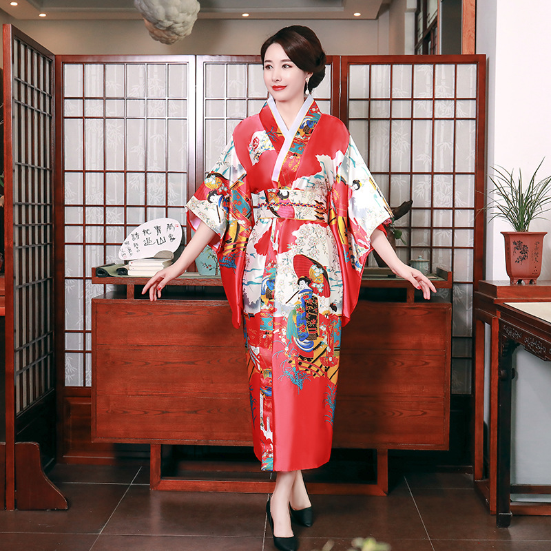Traditional Kimono Femme Harajuku Japanese Original Sexy Ao Dai Yukata Dress Women Performance Dance Haori Fancy Cosplay Costume