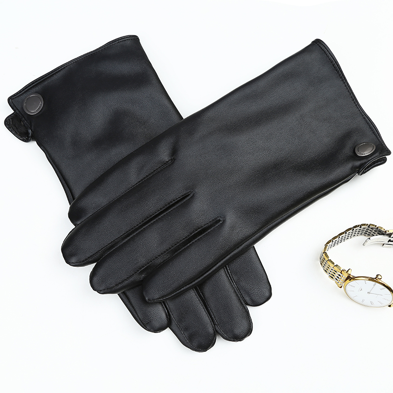 Image BEIJIGUANG Warm Genuine Leather Gloves Men Winter Simple Delicate Soft Sheepskin Solid Color Contraction Prevent Cold Gloves