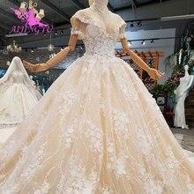 AIJINGYU נפוחה לבנדר שמלות תחרה פשוט ארוך Sleeveds הטוב ביותר נישואי שמלה מימי הביניים חתונה שמלות בריטניה