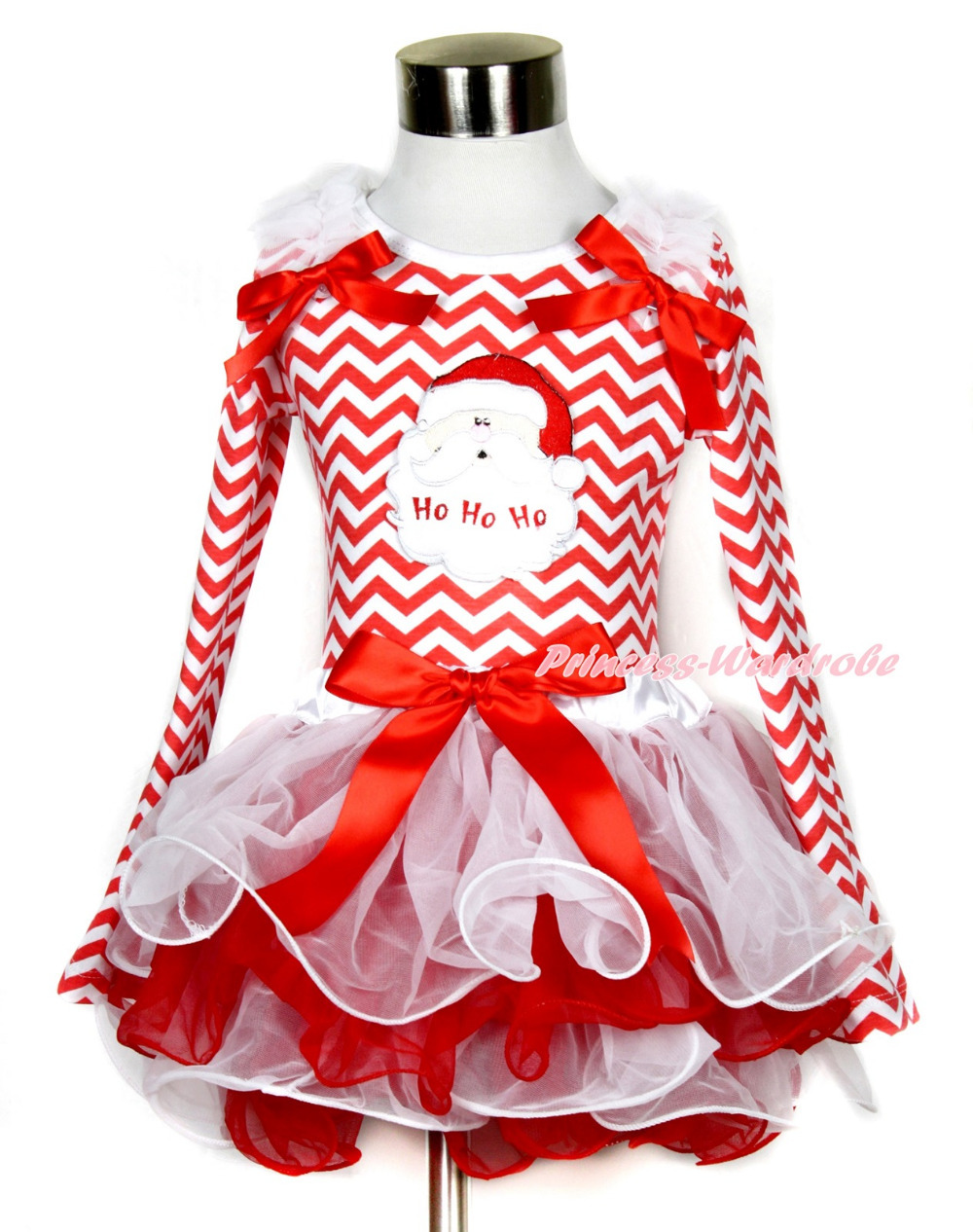 Xmas Red Bow White Red Petal Pettiskirt Red White Wave Long Sleeve Top Santa Claus MAMW330 my 1st christmas santa claus white top minnie dot petal skirt girls outfit nb 8y
