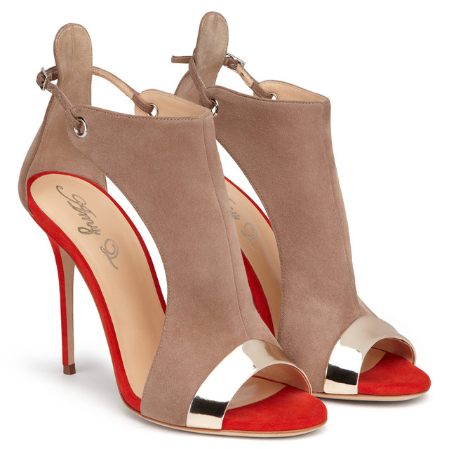 Faux Leather Flock Cover Heel Women Sandals