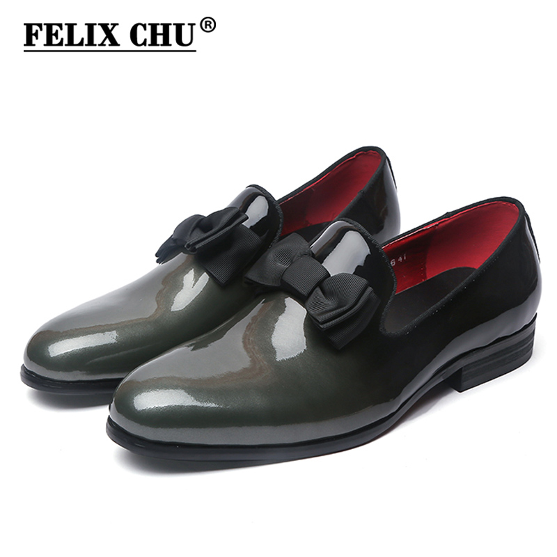 Fashion Patent Leather Men Loafers Shoes With Bow Tie Slip On Party Dress Shoes Formal Wedding Banquet Footwear Gray BlueFashion Patent Leather Men Loafers Shoes With Bow Tie Slip On Party Dress Shoes Formal Wedding Banquet Footwear Gray Blue