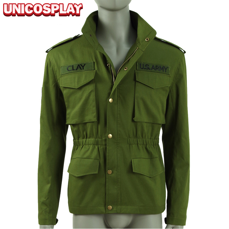 Mafia III Lincoln Clay Jacket Cosplay Costume 2017 Army Green Coat New Zipper Solider Uniform Outwear thirty two metcalf insulated jacket clay