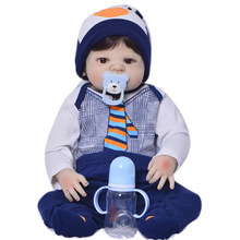 Limited Edition 23 Inch Reborn Baby Doll Toys 57 Cm Full Silicone Vinyl Realistic Newborn Babies For Boys Kid Holiday Present(China)