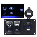waterproof 2 Gang 12V switch panel for car marinecar mobile phone usb charger voltmeter