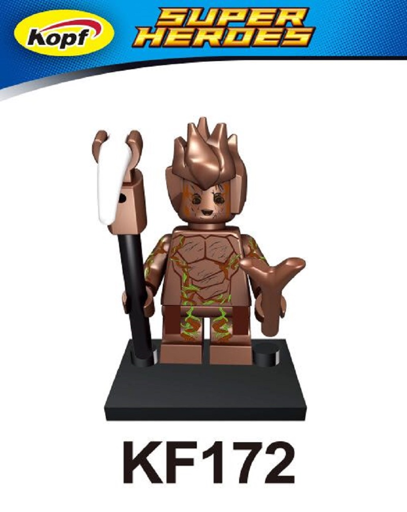 Single Sale Super Heroes Guardians of The Galaxy Groot Tree Man River Song Clara Oswald Building Blocks Children Gift Toys KF172 new funko pop guardians of the galaxy tree people groot