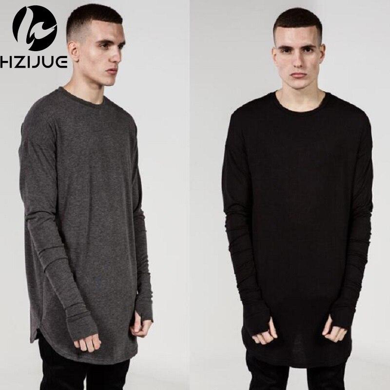 Livraison gratuite sous-vêtements noir blanc et gris à manches longues T-shirt rallongent chemise à manches hommes de mode doigt butin Justin Bieber