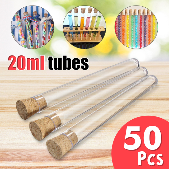 50PCS 20ml Transparent Plastic Test Tubes With Corks Stoppers Clear ...