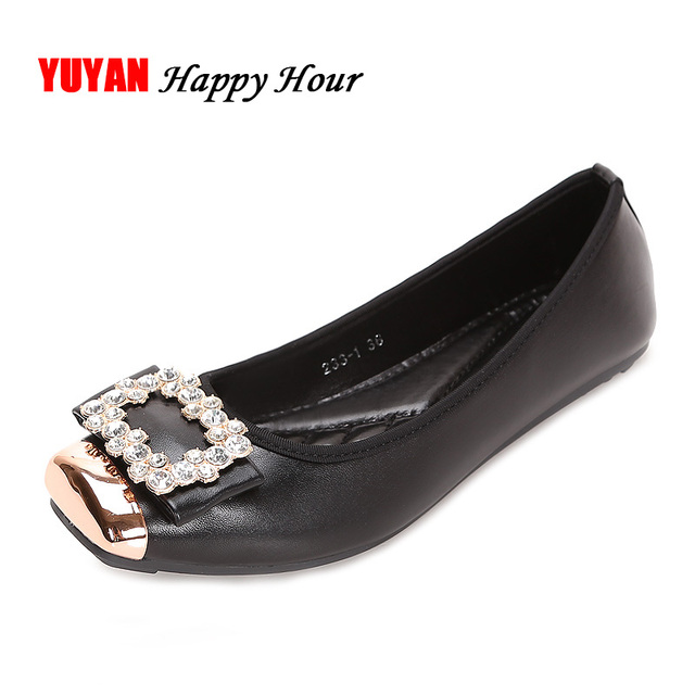 ff2d783051 Elegant Square Rhinestone Soft Leather Women Flats Brand Shoes Woman Boat Shoes  Casual Ladies Flats Plus Size 42 Free Shipping