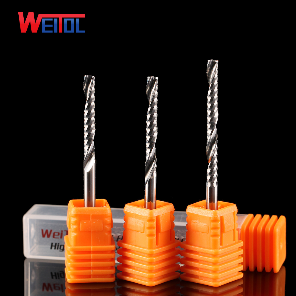 Weito 5A 1 pcs 3.175 Single Flute Bit Carbide End Mill Set, CNC Router End Mills for Wood Cutter Milling, Acrylic Cutting Bits 1 2 5 8 round nose bit for wood slotting milling cutters woodworking router bits