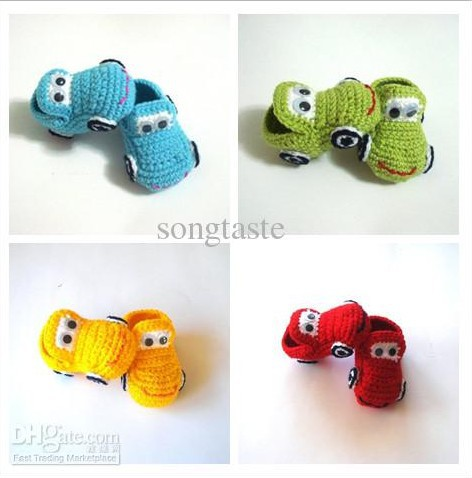 Baby Crochet Shoes Baby Boys Colors  Cars Booties Infant Handmade First Walker Shoes
