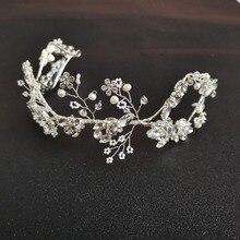 SLBRIDAL Flexible Rhinestones Crystal Freshwater Pearls Wedding Tiara Headband Bridal Headpieces Hair Accessories Women Jewelry