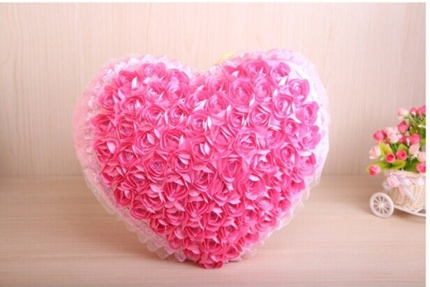 Creative heart shape pillow rose flower design heart cusion doll creative heart shape pillow rose flower design heart cusion doll great gift about 45x42cm pink in stuffed plush animals from toys hobbies on mightylinksfo