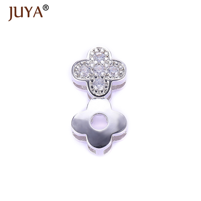 2017 Latest Design Cubic Zirconia Rhinestone Two Clover Flower Spacer Beads For Handmade DIY Beaded Chain Jewellery Making