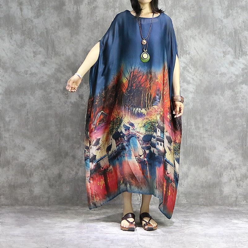 Femmes imprimé rétro Robe de grande taille dames Vintage Robe robes femme Vintage élégant mince Robe 2019 chauve souris manches Robe-in Robes from Mode Femme et Accessoires    1