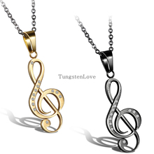 2015 nuevo oro y negro de acero inoxidable G Clef agudo collar Music Note colgante , collar con piedras de diamantes de imitación para mujeres hombres