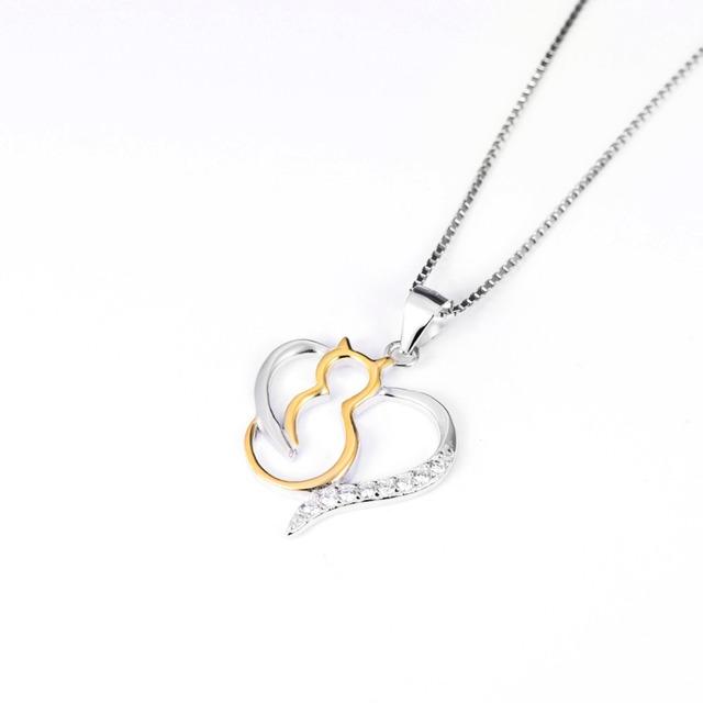 Strieborný náhrdelník SRDCE & MAČKA Silver Pendant Necklace HEART & CAT