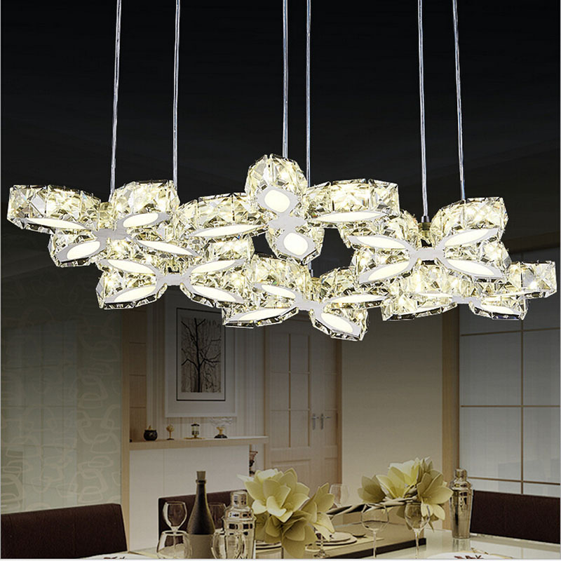 купить The new modern minimalist LED crystal pendant lamp lamp restaurant dining room bedroom living room chandelier bar creative lamps онлайн