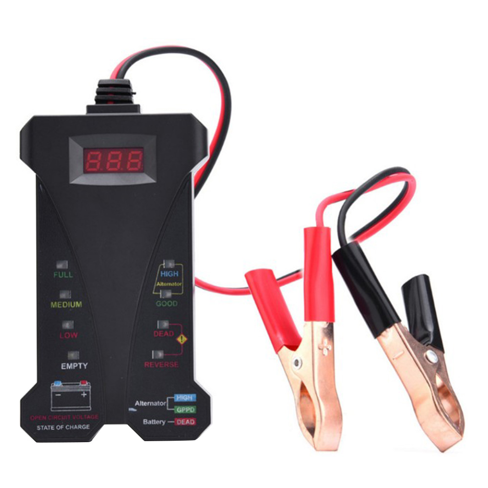 MOTOPOWER MP0514A 12V Digital Battery Tester Voltmeter and Charging System with