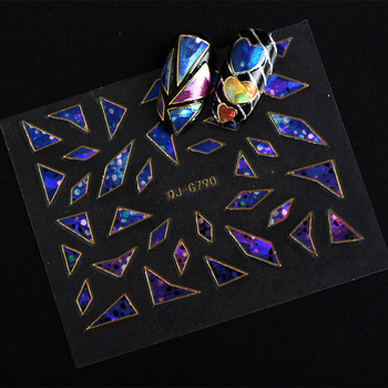 5 Sheets Mixed color 3D Holographic Broken Glass Foils Finger Nail Art Mirror Stickers Glitter Stencil Decal DIY Manicure L9 Stickers & Decals