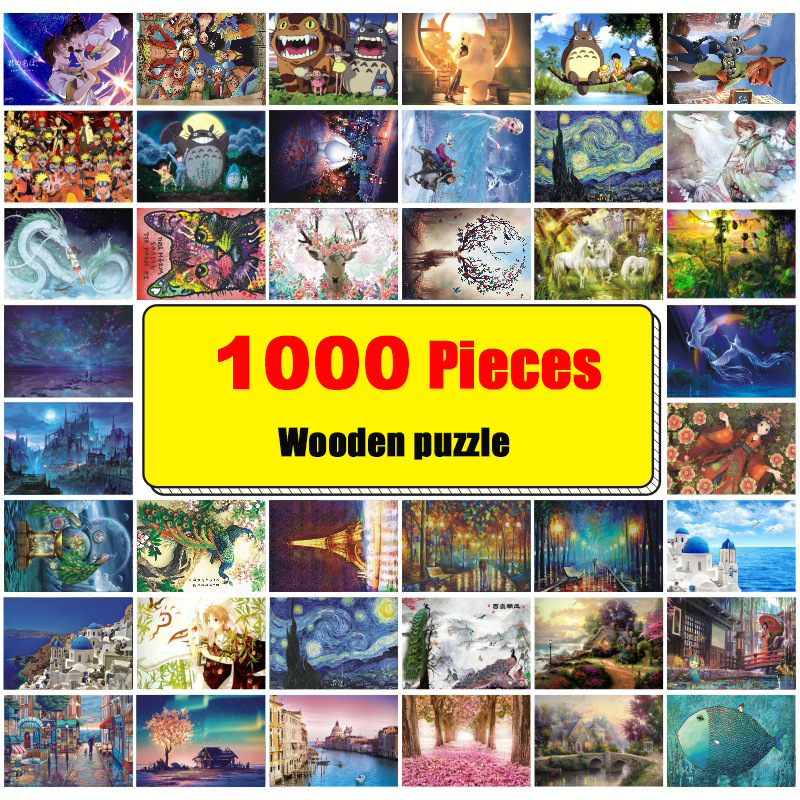 Jigsaw Picture Puzzles 1000 Pieces Educational Wooden Learning Toys For Adults Children Kids Girls Games Birthday Gift