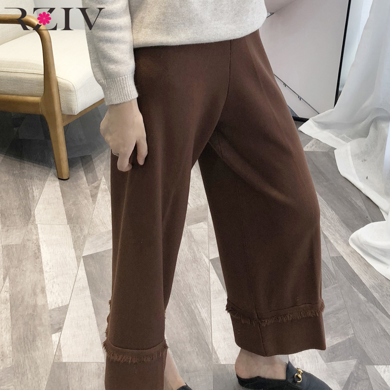 RZIV 2018 autumn female   pants   casual solid color tassel decorative knit   wide     leg     pants