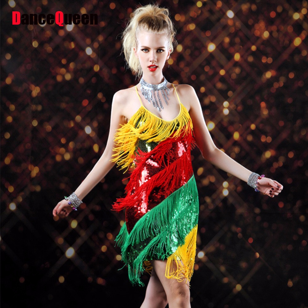 2017 Roaring Finge Sequin Spaghetti Strap Twenties Great Gatsby Girls Style Party Dress Flapper Costumes for Ladies Women Female