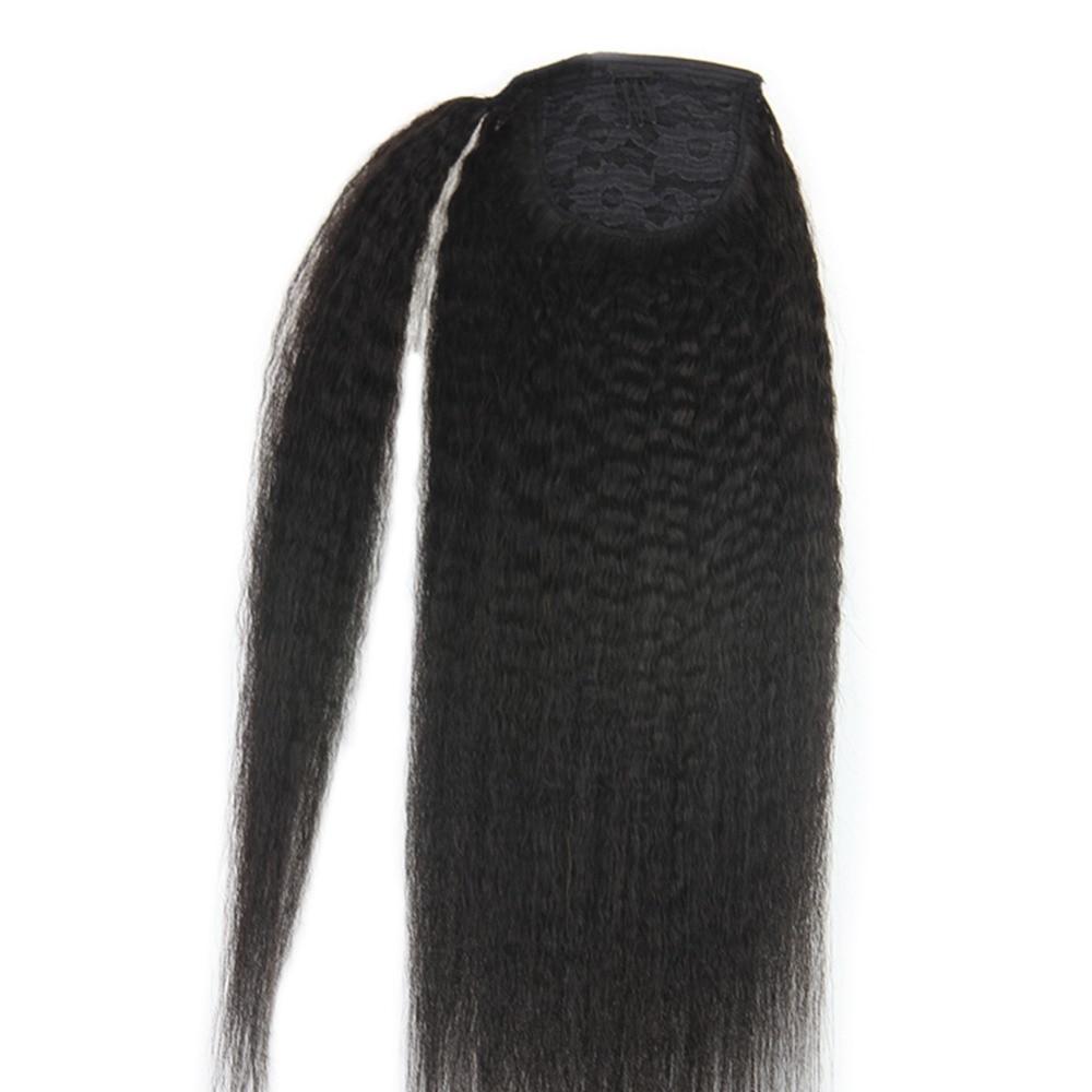 Haarteile Voller Glanz Natürliche Schwarz Farbe Pferdeschwanz Mit Clips Für Afro Frauen 100g 100% Remy Menschenhaar Clip In Pferdeschwanz-haar-verlängerungen Ein BrüLlender Handel
