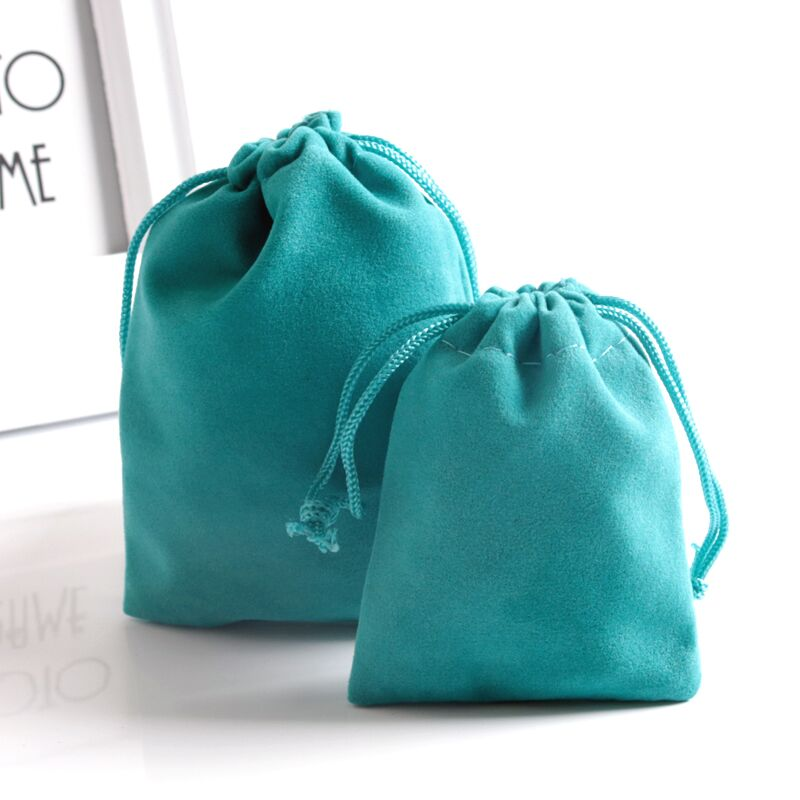 Turquoise Blue Velvet Gift Bag 5x7cm 7x9cm 9x12cm Pack Of 50 Makeup Jewelry Drawstring Pouch