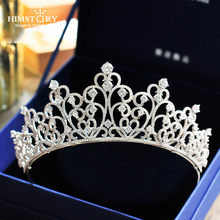 HIMSTORY New Luxury AAA Cubic Zirconia Wedding Tiara Crown Clear CZ Heart Shape Princess Bridal Brides Hair Jewelries