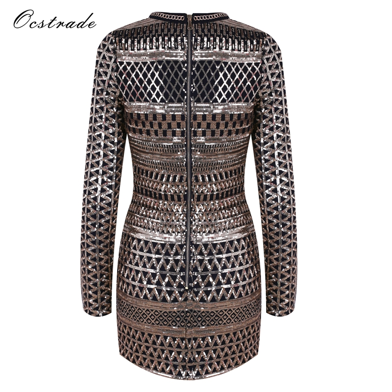 Ocstrade Gold V Neck Long Sleeve Mini Sequined Diamente Embellished Christmas Party Bodycon Dress HW244-Gold