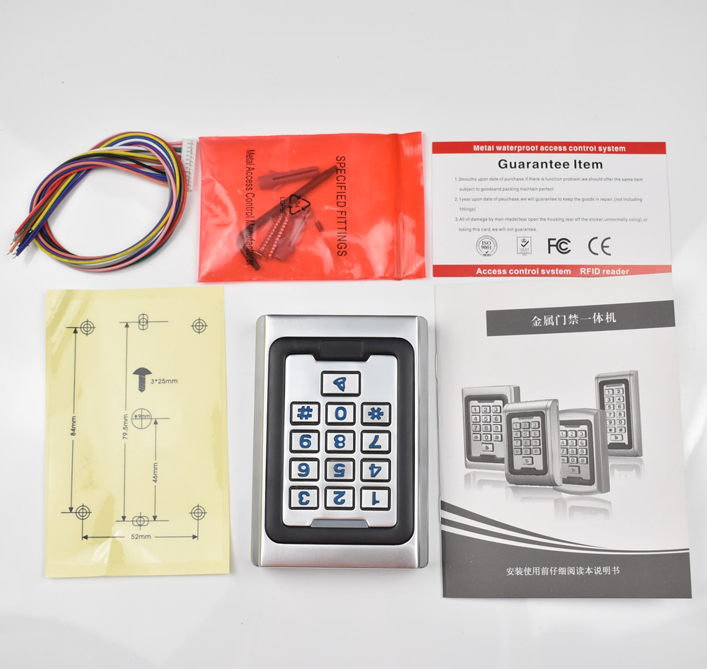 RFID 13.56mhz MF Card Door Access Control Metal Case Silicon Keypad Security Entry 2000 Users standalone keypad access control metal case silicon keypad security entry door reader rfid 125khz em card