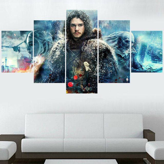 Home Decor Painting Movie Poster 5 Panel Game Of Thrones Modern ...