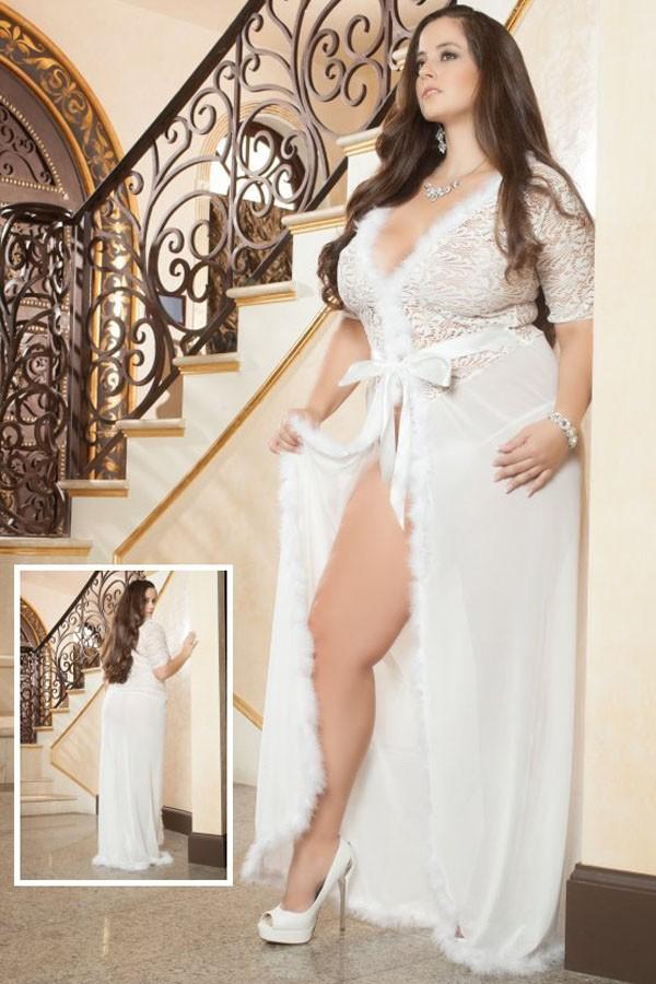 Plus-Size-Ivory-Fur-Trim-Glam-Night-Robe-LC60365-1P-1