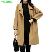 2018 Spring Winter New Woolen Jacket Women Fashion Loose Thin Wool coats Women's High quality Type A buckle Camel Top coats A179