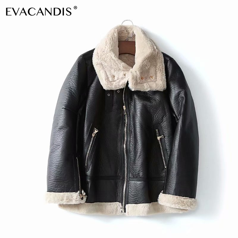 Fur   Leather   Jacket Women Black Jacket Coat Warm Faux Fur Collar Thick Winter Jacket Overcoat Casual Snow Plush Zipper Outwear